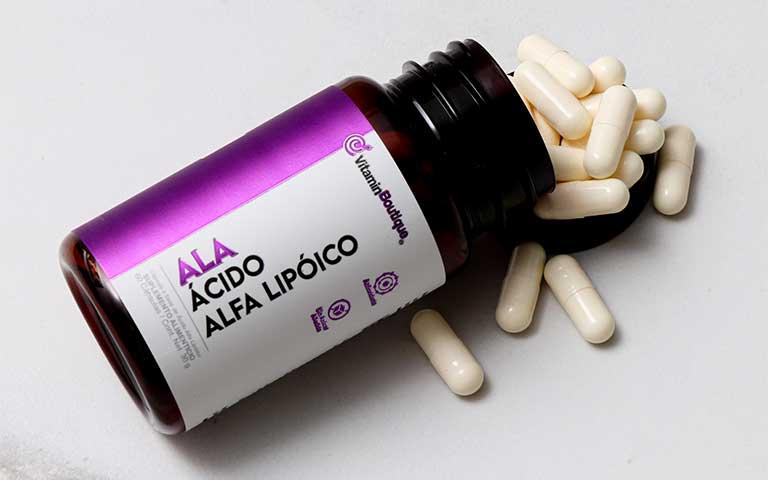 Cápsulas de Ácido Alfa Lipoico.